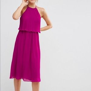 ASOS PLEATED DOUBLE LAYER MIDI DRESS